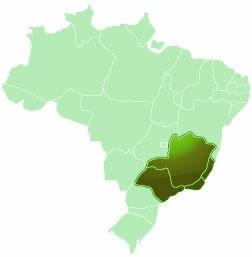 A localização da Região Sudeste.