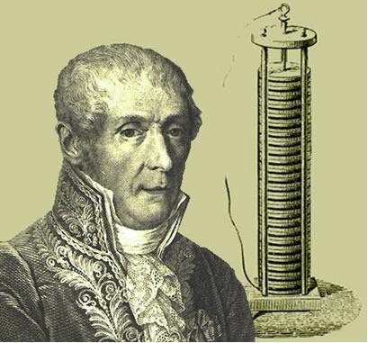 Alessandro Volta e sua primeira pilha, denominada pilha Galvânica ou pilha Voltaica