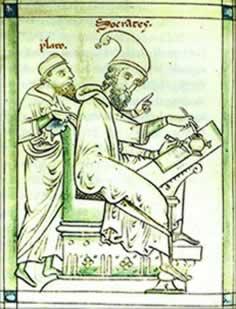 Platão e Sócrates em uma pintura medieval