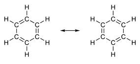 Fórmulas estruturais do benzeno.