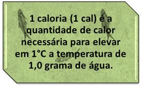 Definição conceitual da unidade de caloria.
