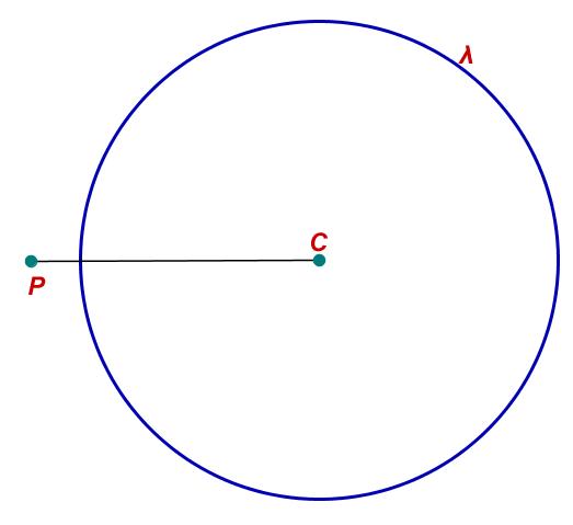 Posição relativa: ponto é externo à circunferência