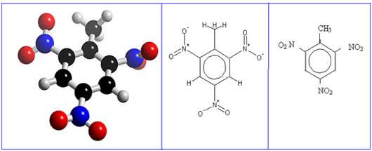 Fórmula estrutural do TNT (trinitrotolueno ou 2-metil-1,3,5-trinitrobenzeno).