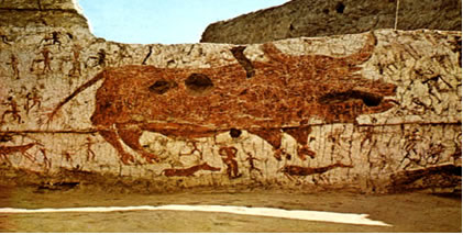 Grande Touro vermelho Rodeado de Caçadores. Catal Huyuk, Anatólia. Neolítico