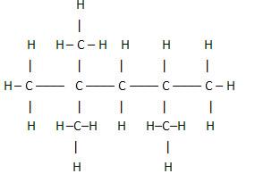 Fórmula estrutural plana de um hidrocarboneto presente na gasolina