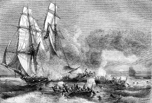 Retrato de navio negreiro fugindo e se livrando dos escravos aprisionados.