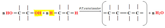 Reação genérica de formação dos polímeros de condensação.