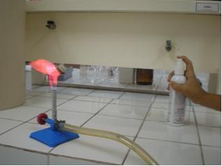 Teste de chamas feito ao se borrifar a amostra