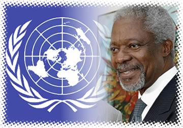 Símbolo da Organização e Kofi Annan – Secretário-Geral