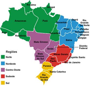 Resultado de imagem para regiões do brasil mapa