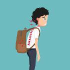 Ilustração de estudante com má postura