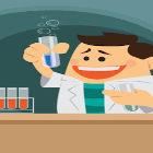 Ilustração de cientista em laboratório