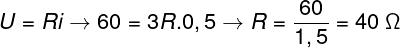 Para encontrarmos a resistência de um desses resistores, utilizaremos a primeira lei de Ohm. Além disso, levaremos em conta que a resistência elétrica obtida nessa associação é igual a 3R, sendo R a resistência elétrica individual.  Título: Cálculo – exercício 3  Com base no cálculo feito acima, a alternativa correta é a letra C.