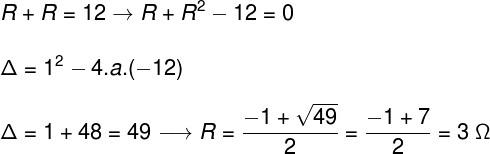 Para calcularmos o valor da resistência elétrica individual, é necessário que resolvamos uma equação do 2º grau. Observe:  Título: Cálculo – exercício 7  Também é possível testar os valores informados nas alternativas, atribuindo-os na expressão da resistência em série. Sendo assim, de acordo com a resolução, a alternativa correta é a letra A.