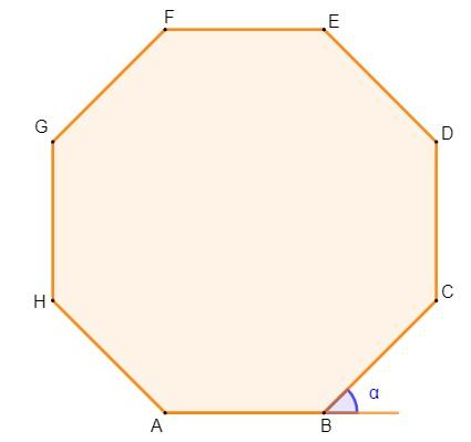 Ilustração de um octágono e a marcação do ângulo α formado entre o lado BC e o prolongamento do lado AB.