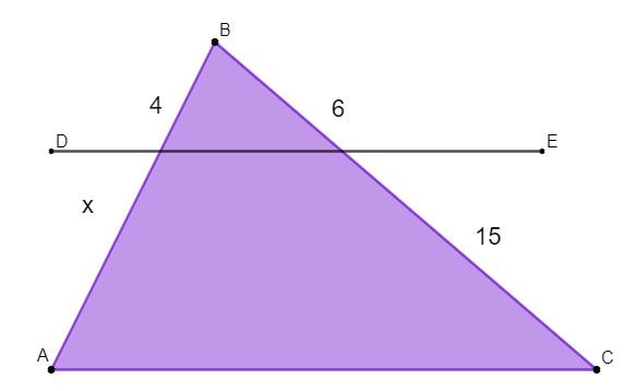 Questão com um triângulo escaleno cortado por uma reta paralela ao seu maior lado