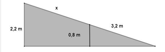 Cálculo de comprimento total da rampa em questão do Enem sobre segmentos proporcionais