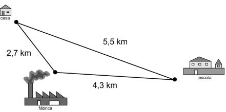 Trajeto em formato triangular com lados medindo 2,7 km, 5,5 km e 4,3 km.
