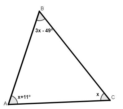 Triângulo escaleno com ângulos internos valendo: x, x + 11º e 3x - 49º.