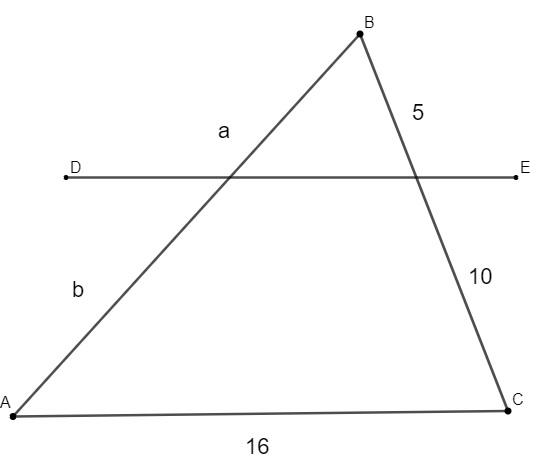 Triângulo cortado por uma reta transversal e medidas dadas em centímetros que ilustra questão sobre teorema de Tales