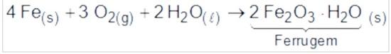 Equação química da formação da ferrugem