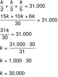 Cálculo para determinar o valor de k