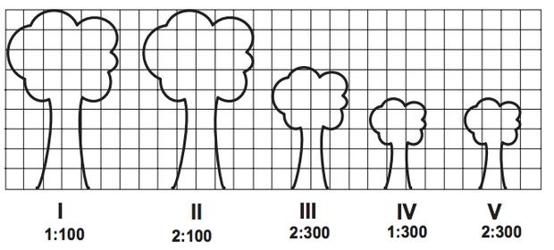 Malha quadriculada com altura de cinco árvores distintas em escalas diferentes
