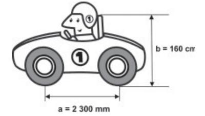 Ilustração de carro de corrida com medidas de distância entre os eixos (2.300 mm) e altura (160 cm)
