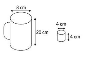 Ilustração de leiteira cilíndrica e copinho de plástico com suas respectivas medidas