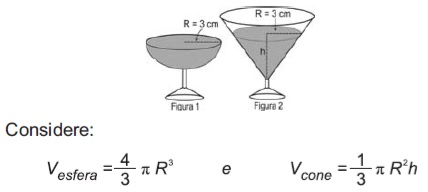 Ilustração de dois modelos de taças e fórmulas para cálculo de volume de esfera e cone