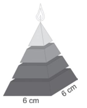 Ilustração de vela de parafina em forma de pirâmide quadrangular regular com 6 cm de aresta da base