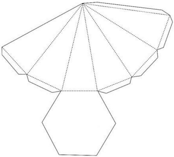 Molde para construção de uma pirâmide hexagonal regular