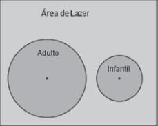 Representação de área de lazer com duas piscinas em formato circular