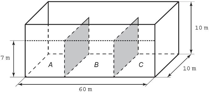 Ilustração de reservatório de petróleo em formato de um paralelepípedo retangular e subdividido em três compartimentos.
