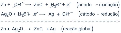 Semirreações químicas e reação global em pilha de óxido de prata