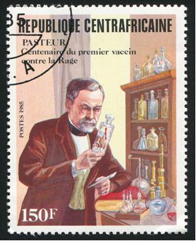 Seloimpresso pela Central Africano República mostra Louis Pasteur (1822-1895), Químico e Microbiologista, por volta de 1985*