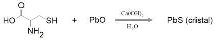 Reação entre o óxido de chumbo das tinturas e a cisteína, um aminoácido sulfurado que compõe a estrutura da queratina