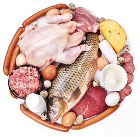 Exemplos de alimentos de laticínios e carnes