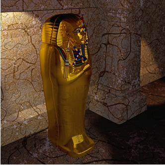 Sarcófago egípcio feito de ouro