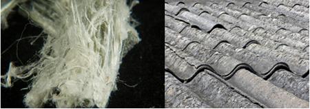 Fibras de amianto e telha feita desse mineral