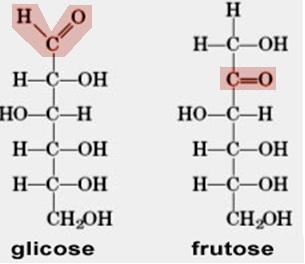 Estruturas da glicose e frutose