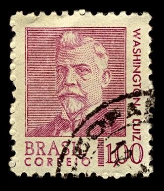 Selo em homenagem a Washington Luís, que foi o último presidente da República Velha, deposto pelo golpe que inaugurou a Revolução de 1930.*