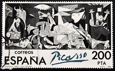 A obra Guernica, de Pablo Picasso, retrata os horrores de Guerra Civil Espanhola