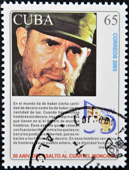 Selo comemorativo do assalto ao quartel Moncada, em 1953. Com esta ação, Fidel Castro iniciou o processo que culminaria na Revolução Cubana em 1959.*