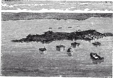 """A fortaleza de Kronstadt em gravura do século XIX. Segundo Trotsky, o local era o """"orgulho e glória da revolução"""""""