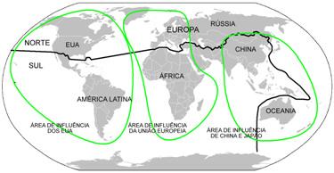 Mapa com a divisão norte-sul e a área de influência dos principais centros de poder