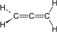 Fórmula do aleno ou propadieno, o alcadieno mais simples que existe