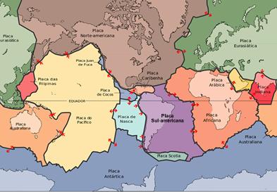Compare com o mapa anterior e observe a localização do anel de fogo e o encontro entre as placas