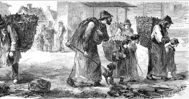 Pessoas pobres andando pelas ruas de Paris, em 1858