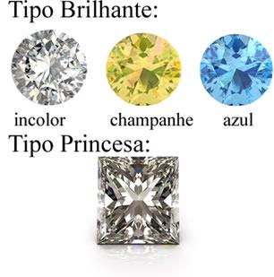Formatos e tipos de diamantes fornecidos pela Brilho Infinito